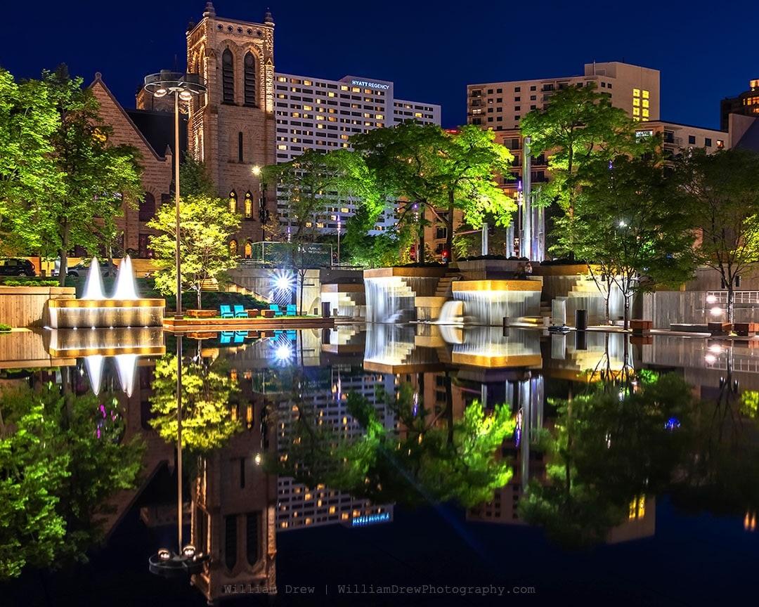 Peavey Plaza Reflections - Minneapolis Wall Art | William Drew Photography