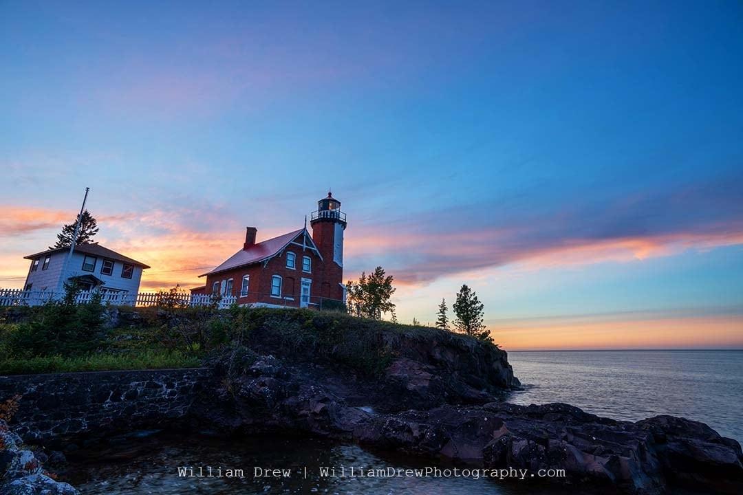 Sunset at Eagle Harbor Lighthouse - Lighthouse Photos | William Drew Photography