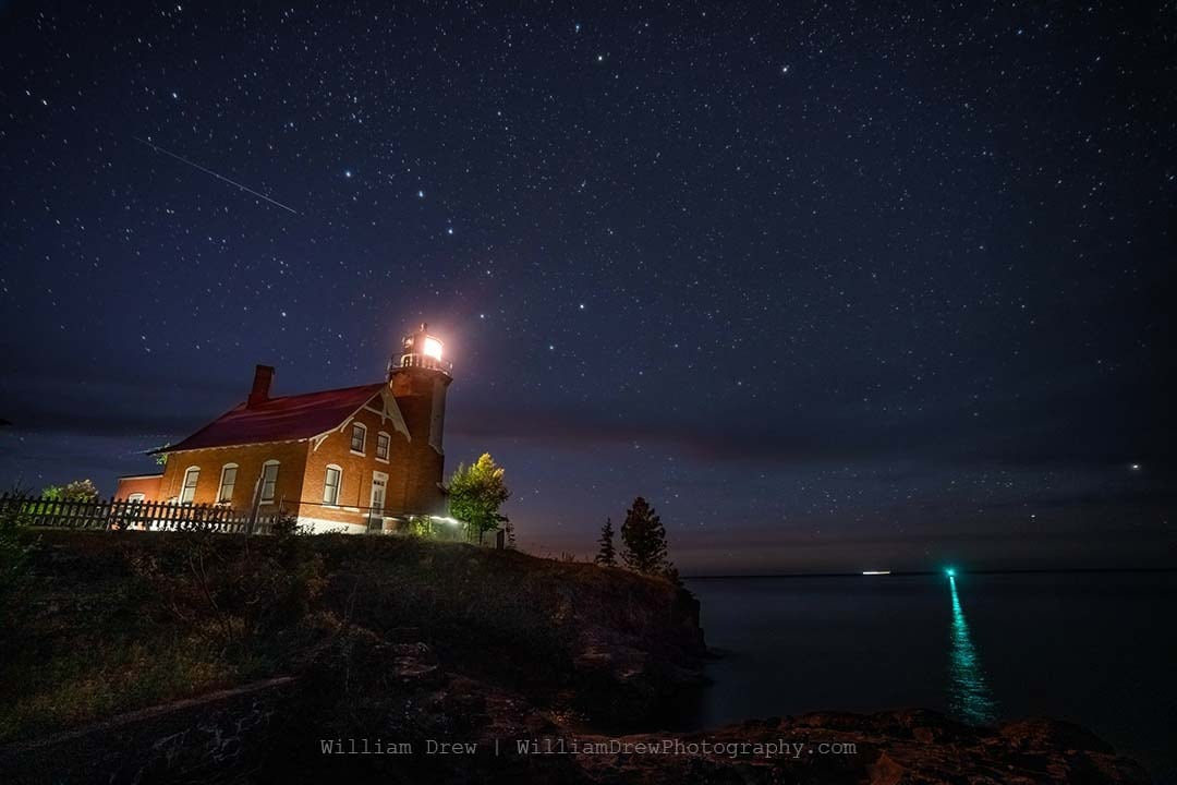 Eagle Harbor Lighthouse and the Big Dipper - Lighthouse Pictures | William Drew Photography