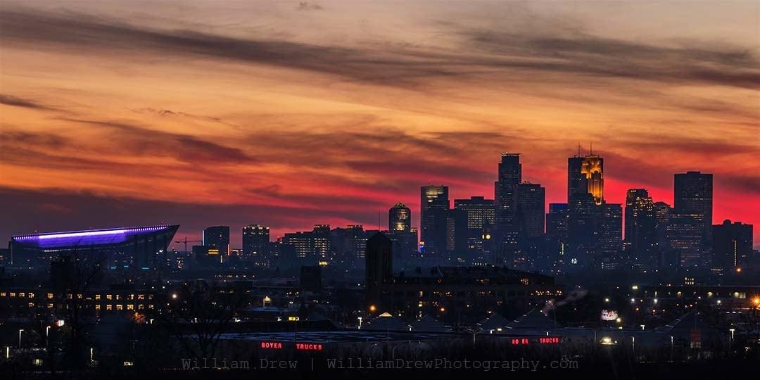 Minneapolis Sky on Fire - Minneapolis Skyline Wall Art   William Drew Photography