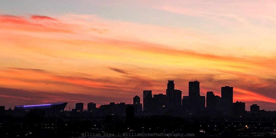 Minneapolis Skyline Sunset Silhouette - Minneapolis Photographer   William Drew Photography
