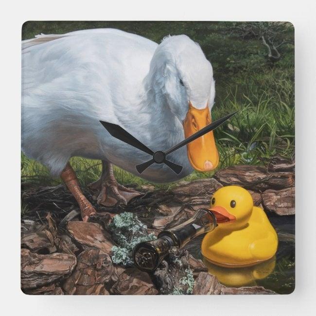 """If It Looks Like a Duck"" acrylic wall clock"
