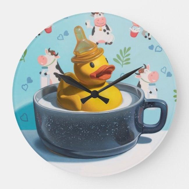 """Milk Duck"" acrylic wall clock"