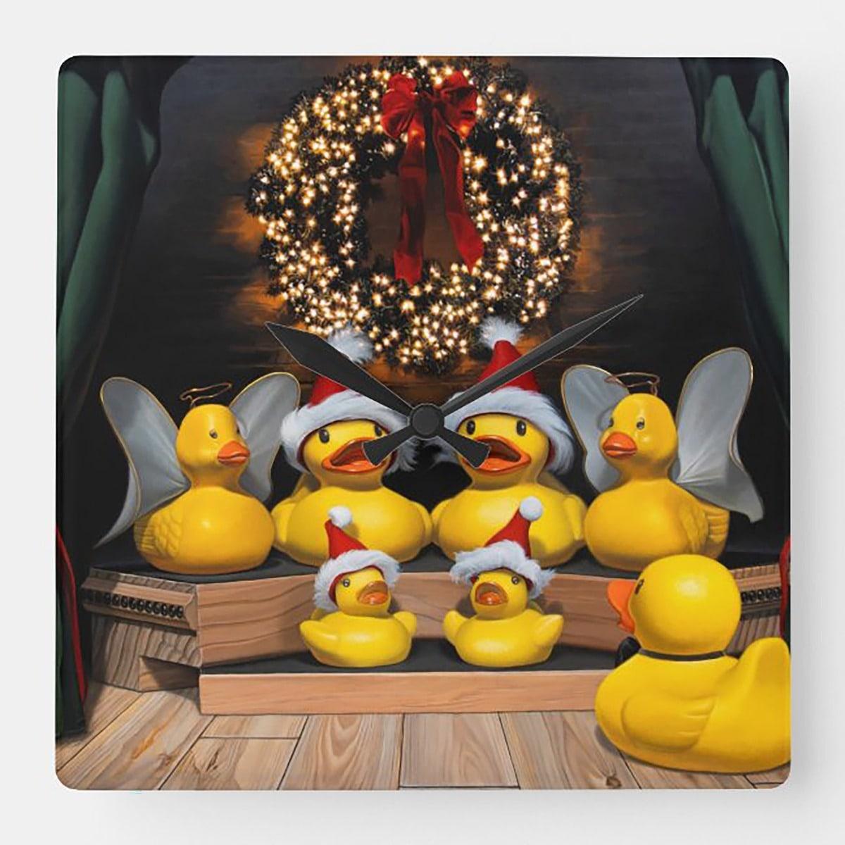 """Duck the Halls"" acrylic wall clock"