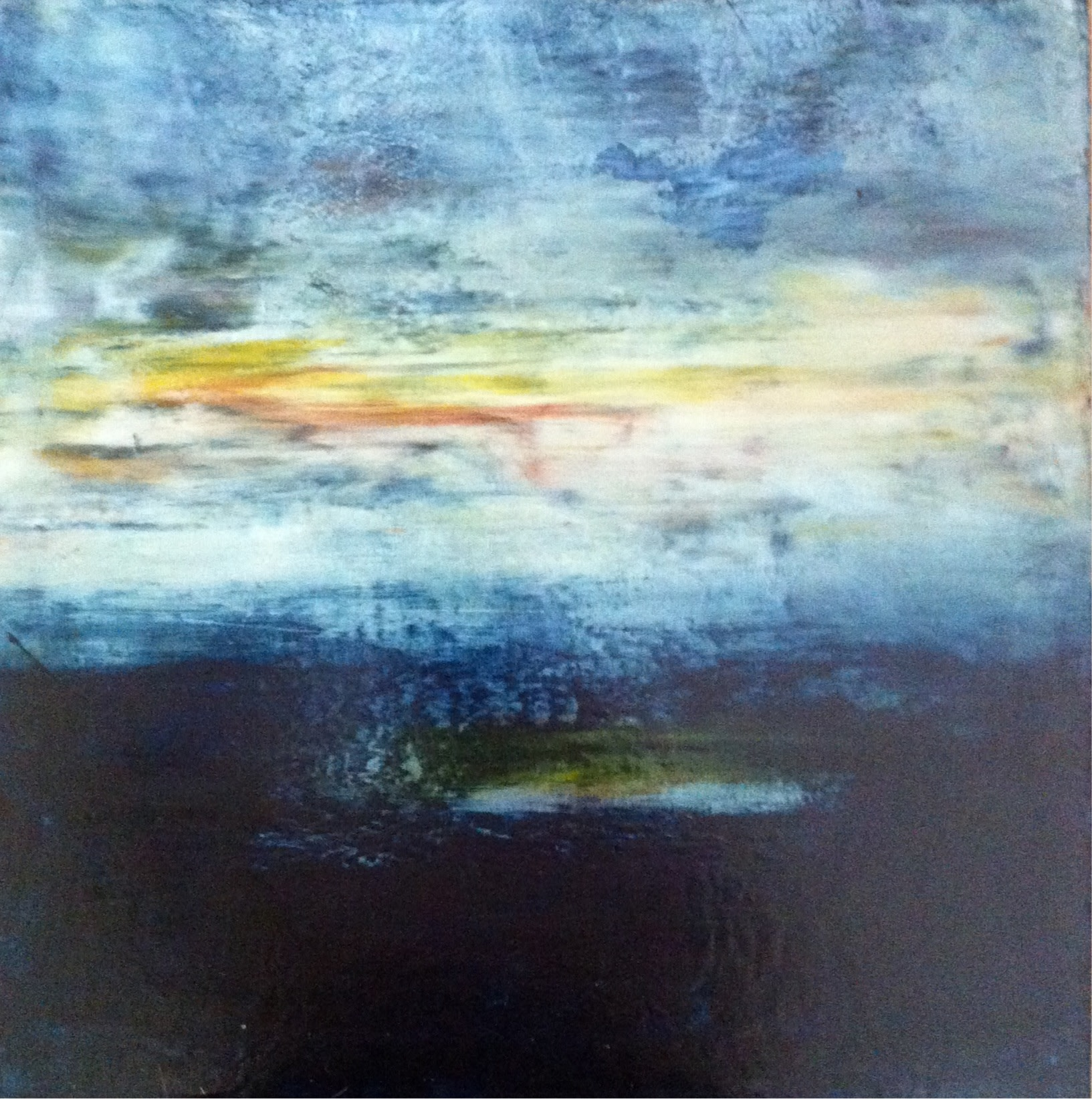 <div class='title'>           Blue-Skies-Sunset         </div>                 <div class='description'>           Capturng the beauty of the sky at sunset over the water, this landscape inspired oil and cold wax panel is in a private collector's beach home.         </div>