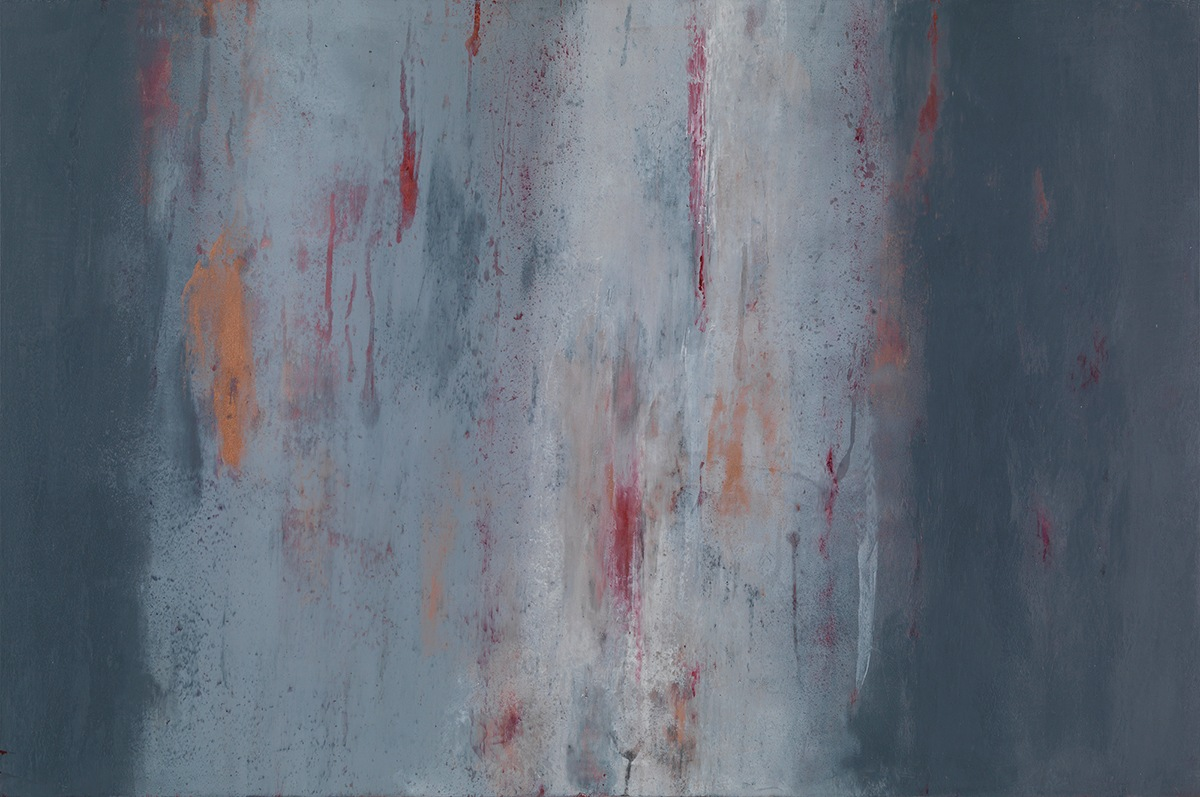 <div class='title'>           Goin-With-The-Flow         </div>                 <div class='description'>           Cool grays with mutil-colored underlying layers form this complex oil and cold wax painting on cradled panel by artist Mark Witzling.         </div>