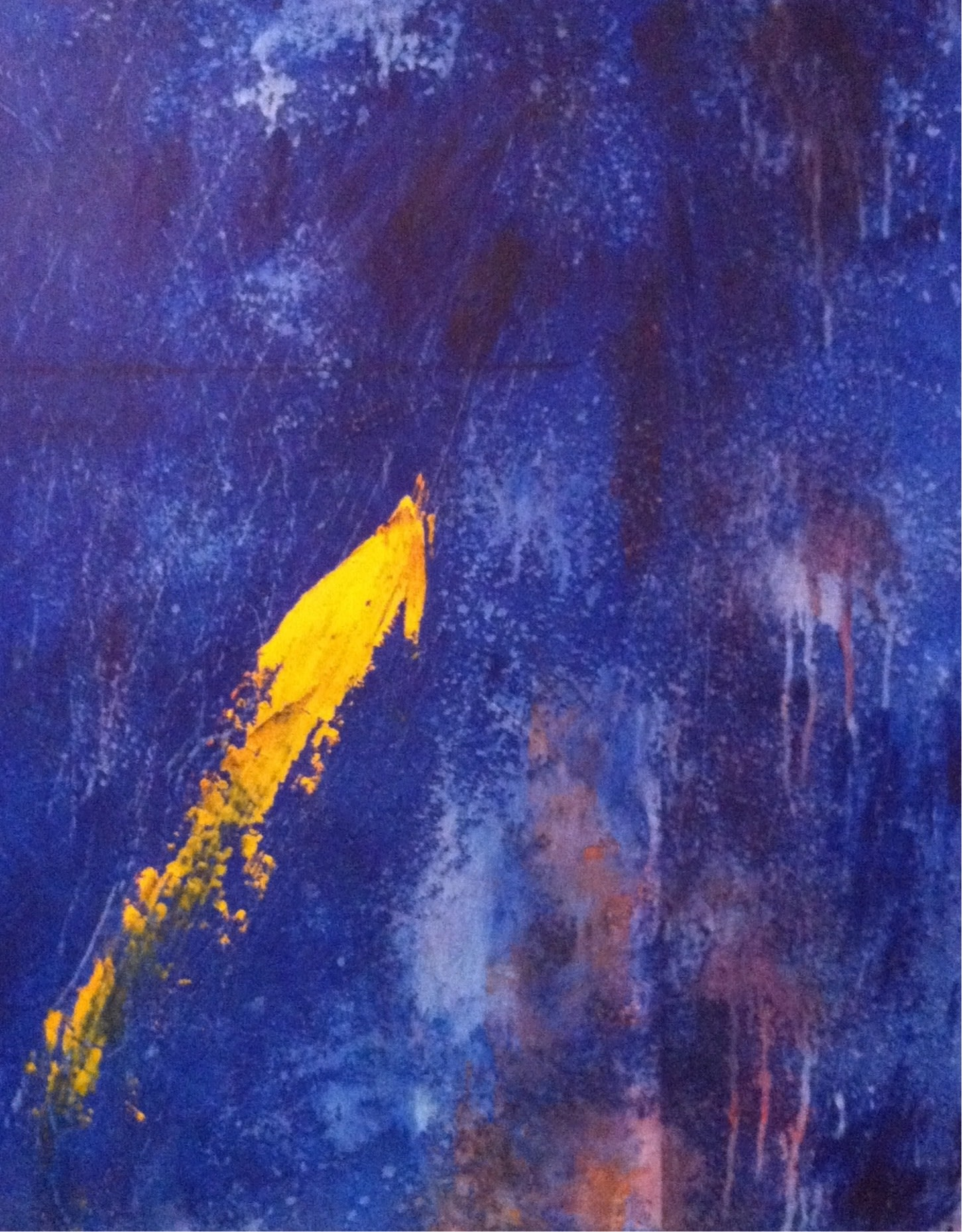 <div class='title'>           Koi         </div>                 <div class='description'>           Blue and yellow gold oil and cold wax painting inspired by a local koi pond. Mark Witzling artist.         </div>