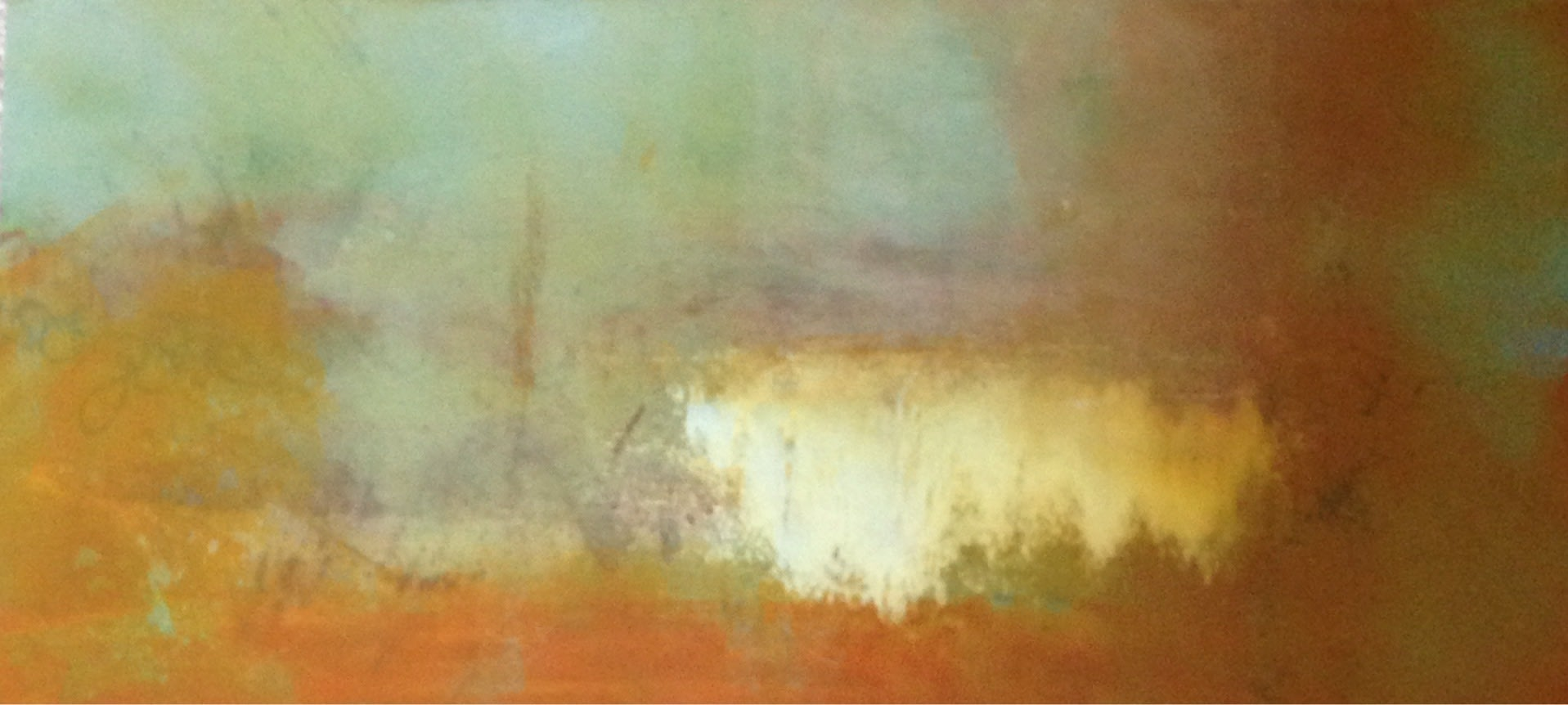 <div class='title'>           Tramonto-Pacifica         </div>                 <div class='description'>           Recalling the stunning patina of the walls of historic Italian architecure, Tramonto Pacifica is an oil and cold wax painting on cradeld panel.         </div>