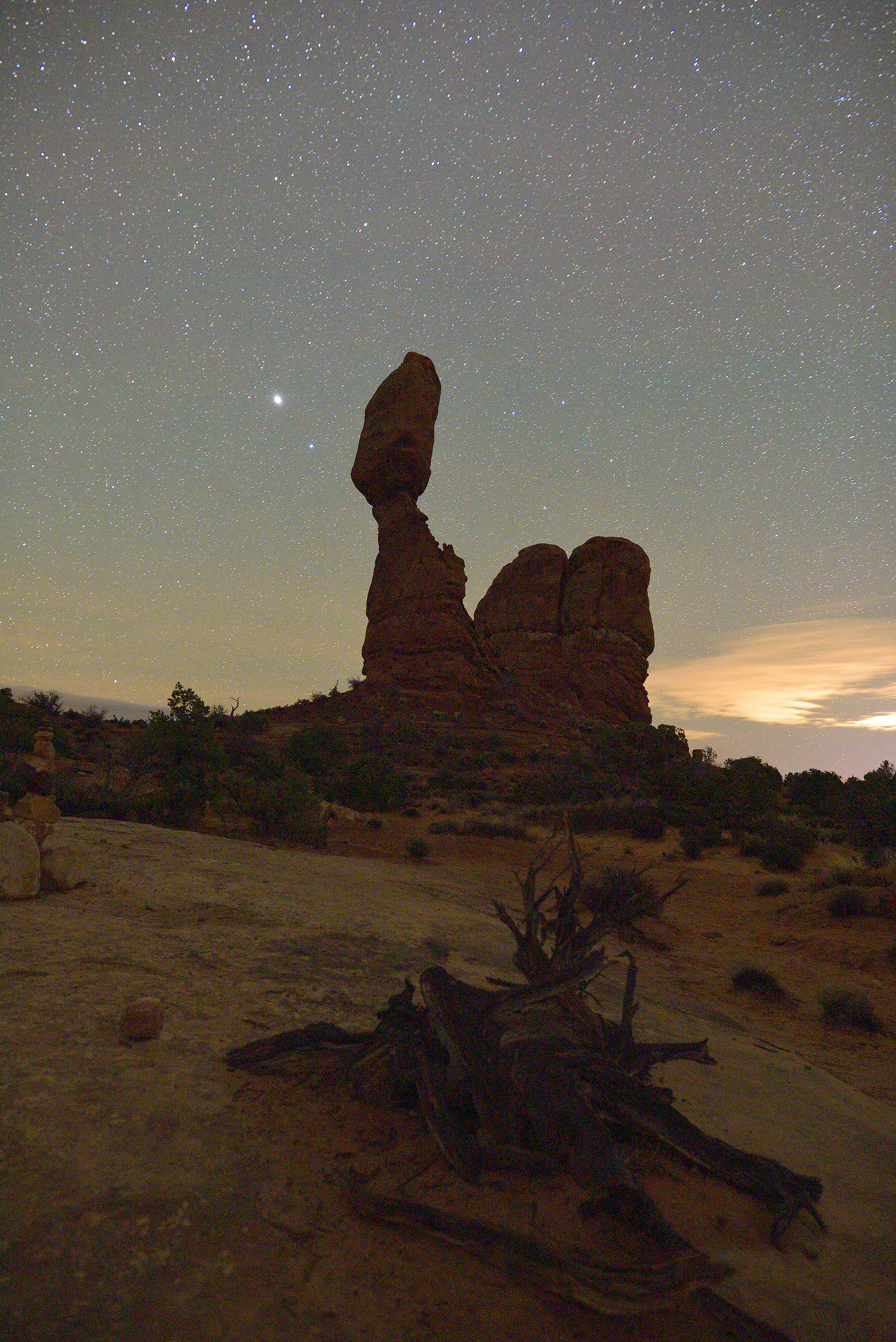<div class='title'>           Balanced Rock Night         </div>                 <div class='description'>           The night sky over Balanced Rock         </div>