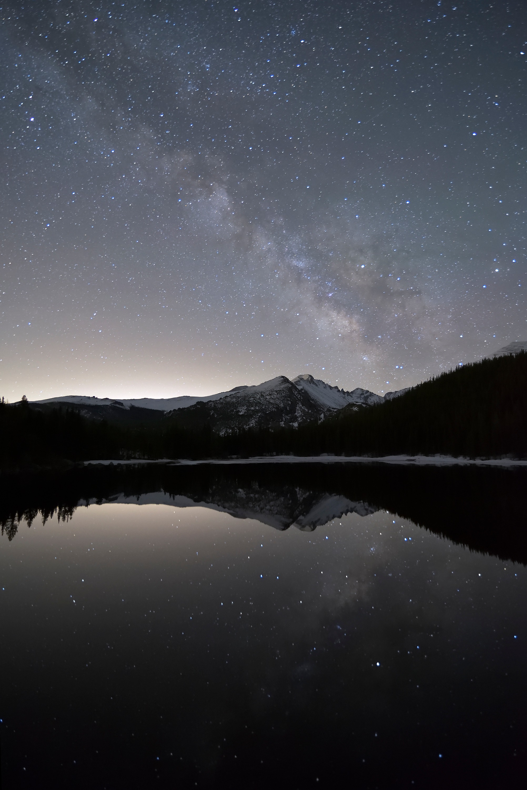<div class='title'>           Milky Way over Longs Peak         </div>                 <div class='description'>           The Milky Way arcs across the sky over Longs Peak, viewed from Bear Lake in Rocky Mountain National Park         </div>