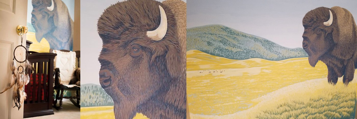 <div class='title'>           Animal Nursery Mural - Baby Bison         </div>                 <div class='description'>                    </div>