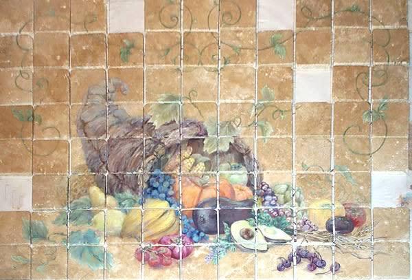 <div class='title'>           Cornucopia         </div>                 <div class='description'>           A Horn of Plenty painted on tumbled marble tiles for a custom backsplash.         </div>
