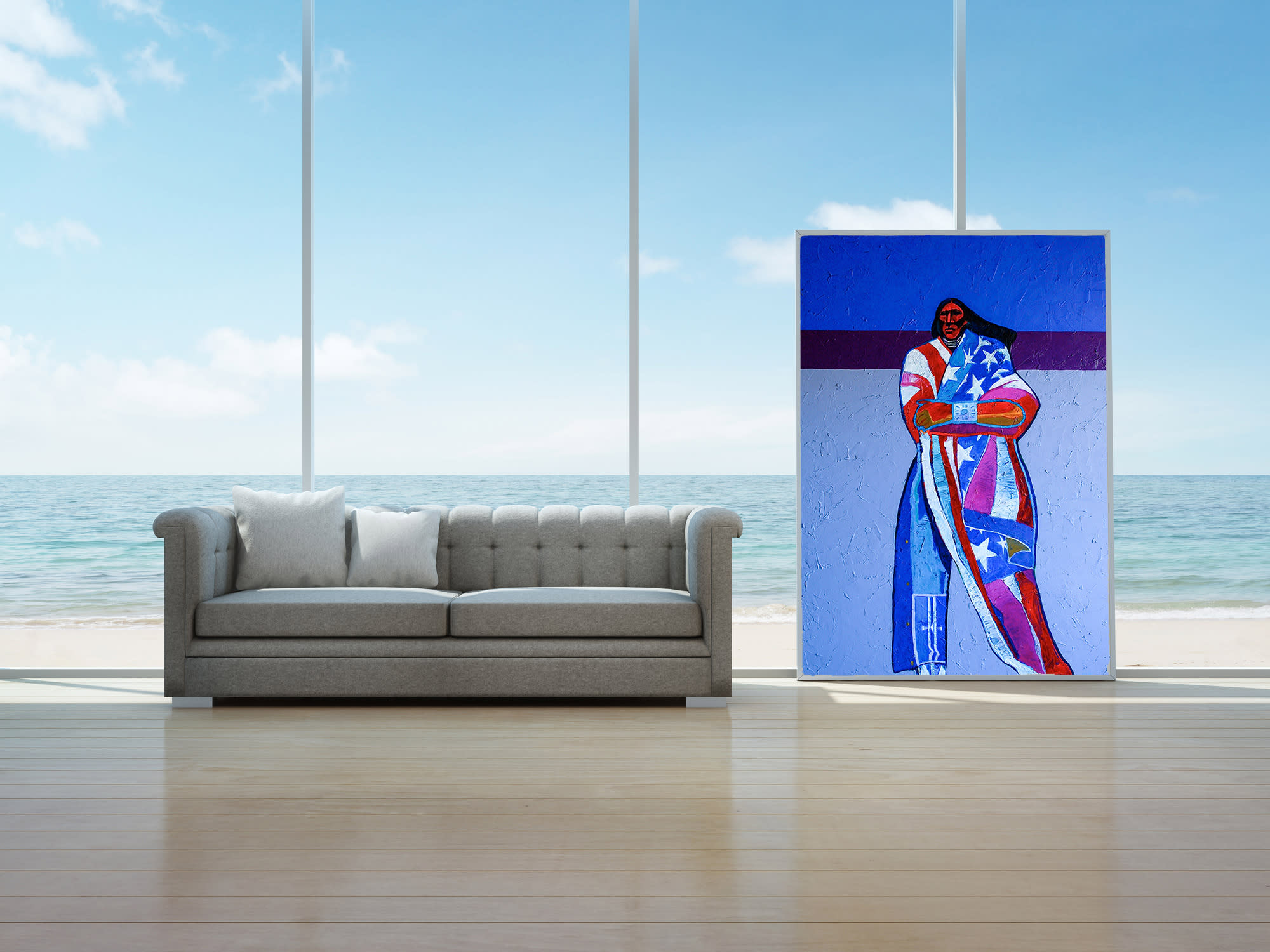 <div class='title'>           America America, beach house, living room, coastal living, water scene, American flag, Native American         </div>                 <div class='description'>           Interior design ideas         </div>