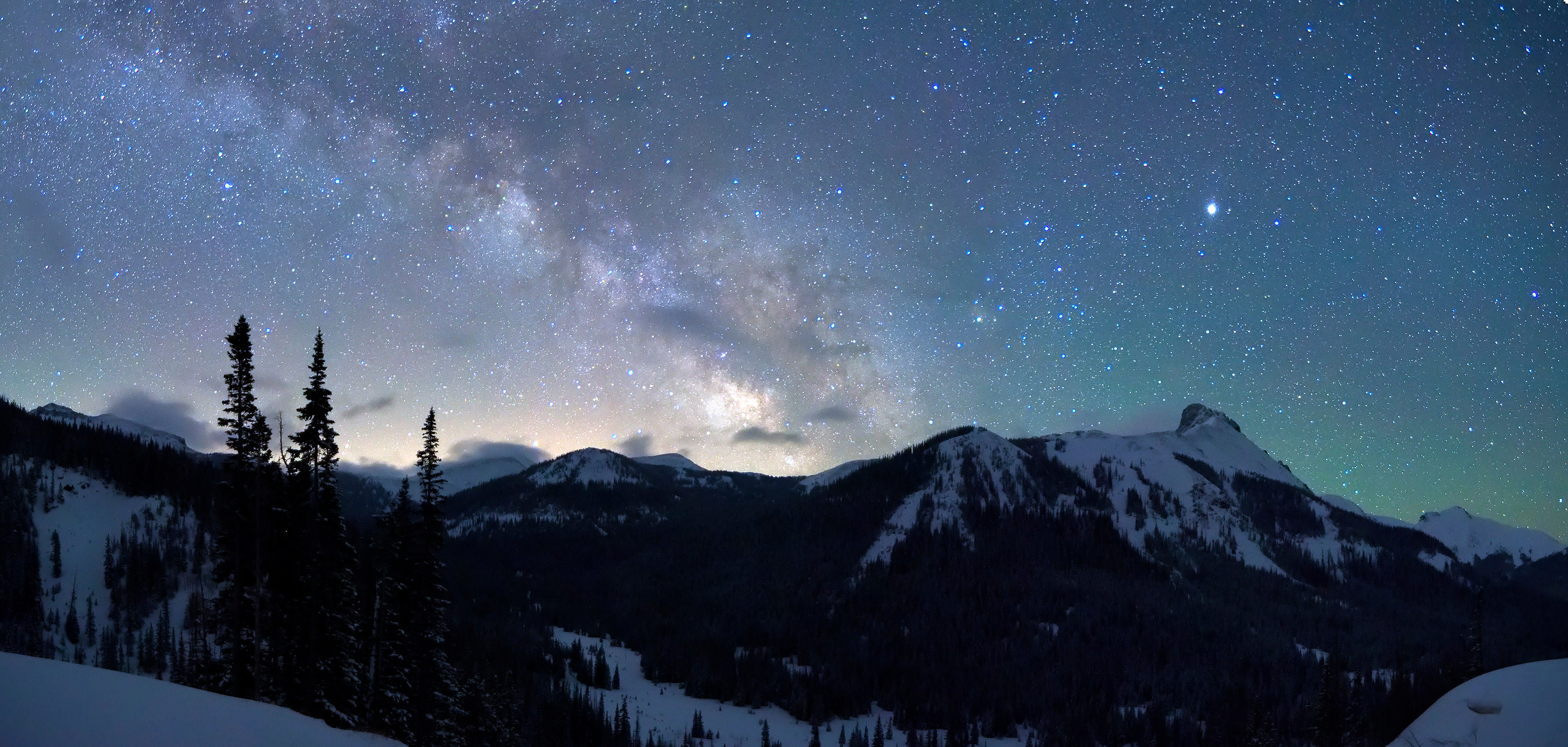 <div class='title'>           Never Summer Milky Way         </div>                 <div class='description'>           Viewed from a pullout on Colorado Highway 14 just west of Cameron Pass, the Milky Way rises into the night sky over the Never Summer Mountains. This panoramic view looks southward towards Rocky Mountain National Park.         </div>