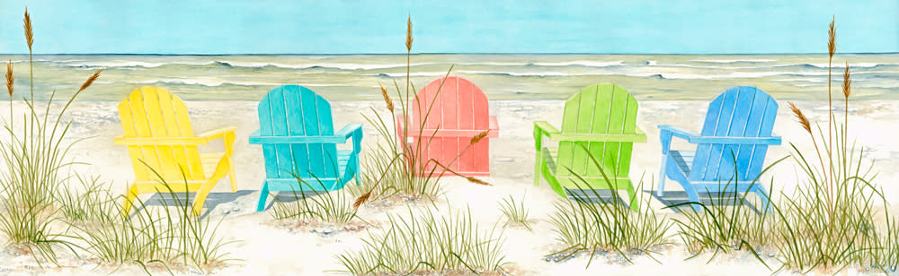 <div class='title'>           Beach Chairs         </div>                 <div class='description'>           Colorful Adirondack chairs on the beach          </div>