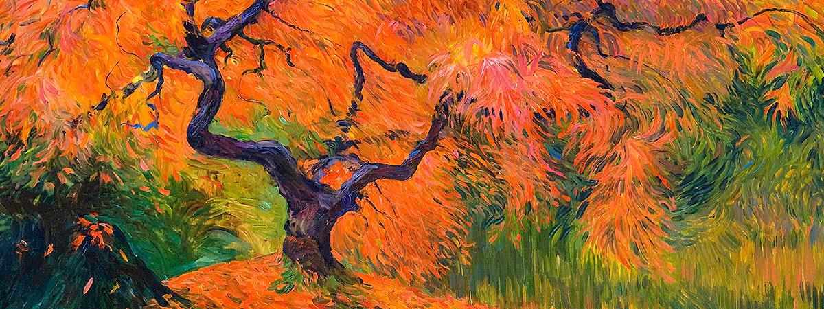 """<div class='title'>           Japanese Maple         </div>                 <div class='description'>           48"""" x 30"""" Oil on canvas         </div>"""