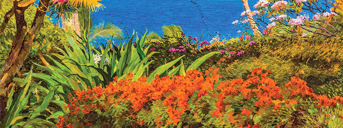 "<div class='title'>           Maui         </div>                 <div class='description'>           72""x48"" Oil on canvas. Maui ocean view from a lush tropical garden         </div>"
