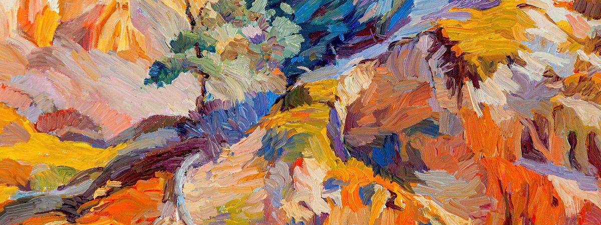 """<div class='title'>           Sandstone Canyon         </div>                 <div class='description'>           18"""" x14"""" Oil on canvas         </div>"""