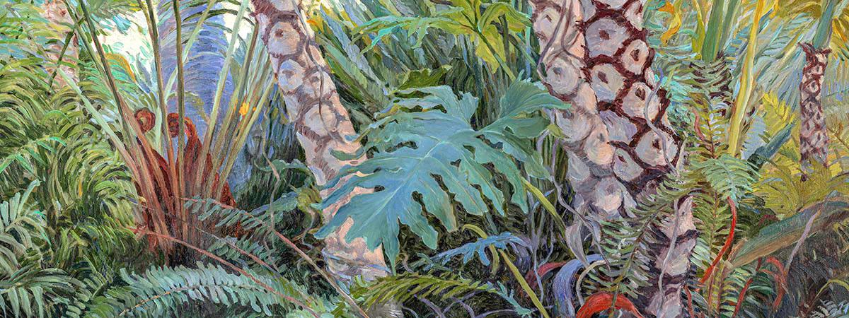 """<div class='title'>           Tropical Underwood         </div>                 <div class='description'>           48"""" x 36"""" Oil on canvas         </div>"""