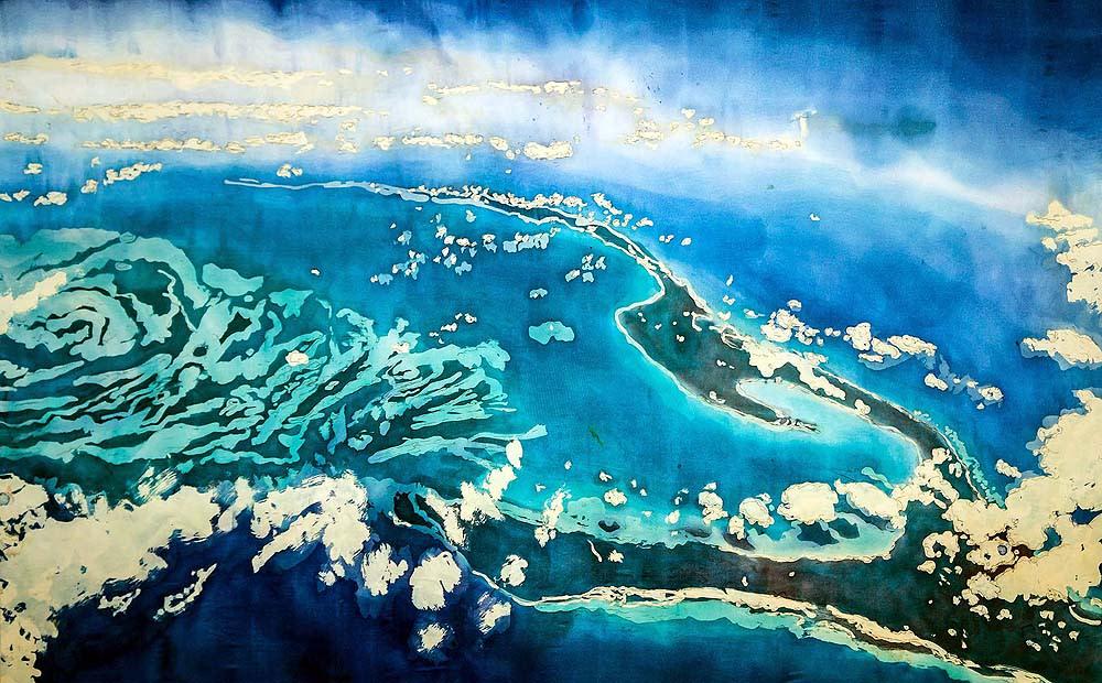<div class='title'>           Muffy Clark Gill  Agua XXXIII  Islands in the Stream  rozome on silk  36 x 54 in         </div>