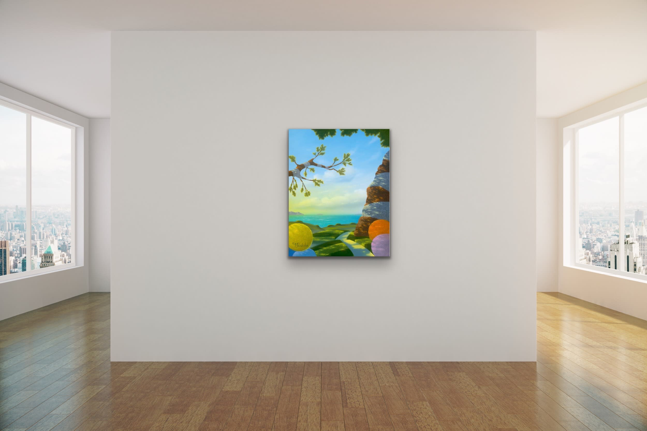 <div class='title'>           Michael Provenza Mock Ups Evo Art Maui Lahaina Gallery Pointilism Disney Artist Dreamscape Surreal Colorful Dots 4         </div>