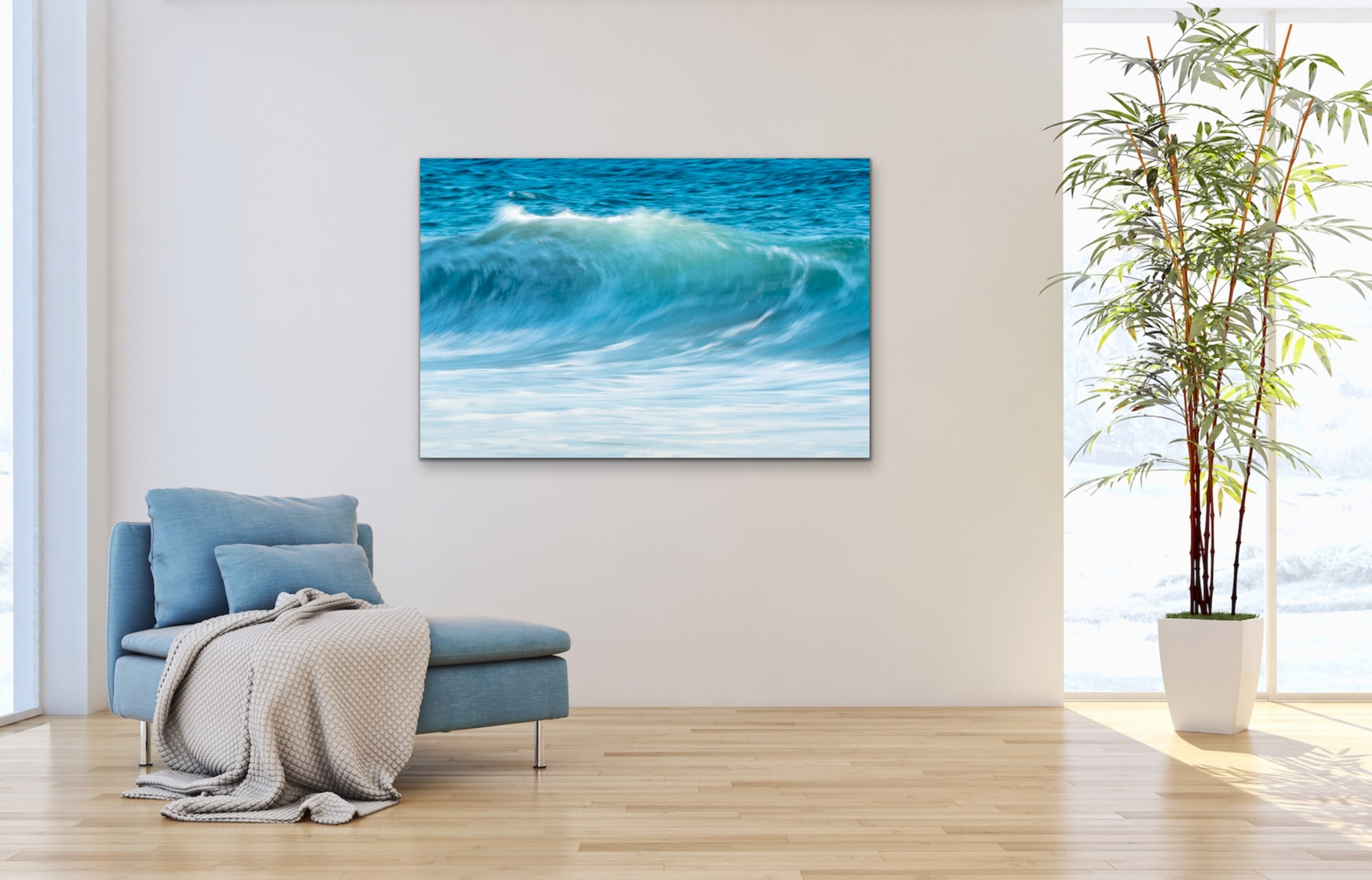 <div class='title'>           Present Moment         </div>                 <div class='description'>           A California ocean wave cresting with blue, turquoise and white colors.         </div>