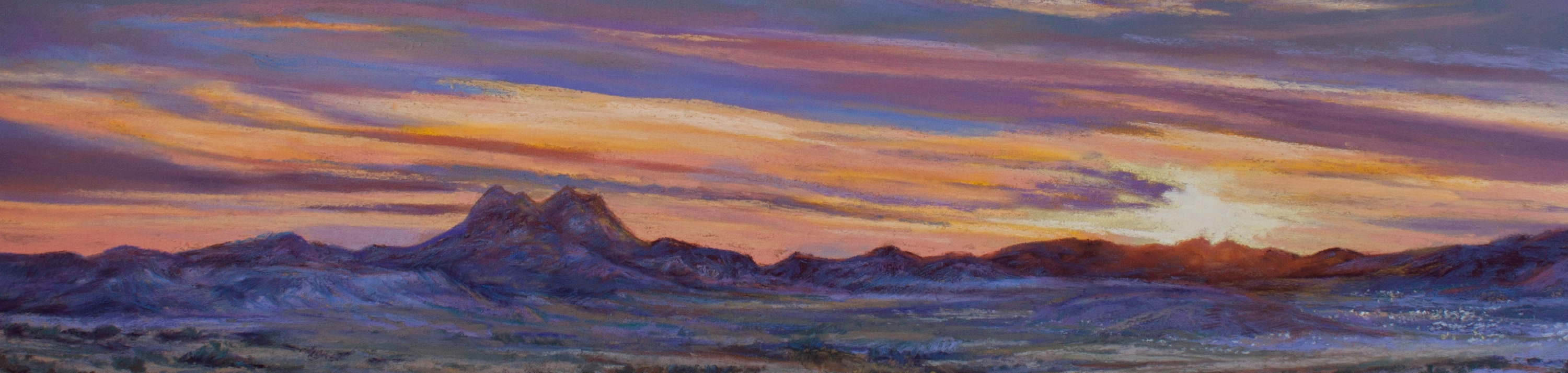 <div class='title'>           23G15 The Lights of Alpine Texas 10x20 pastel Lindy C Severns banner         </div>