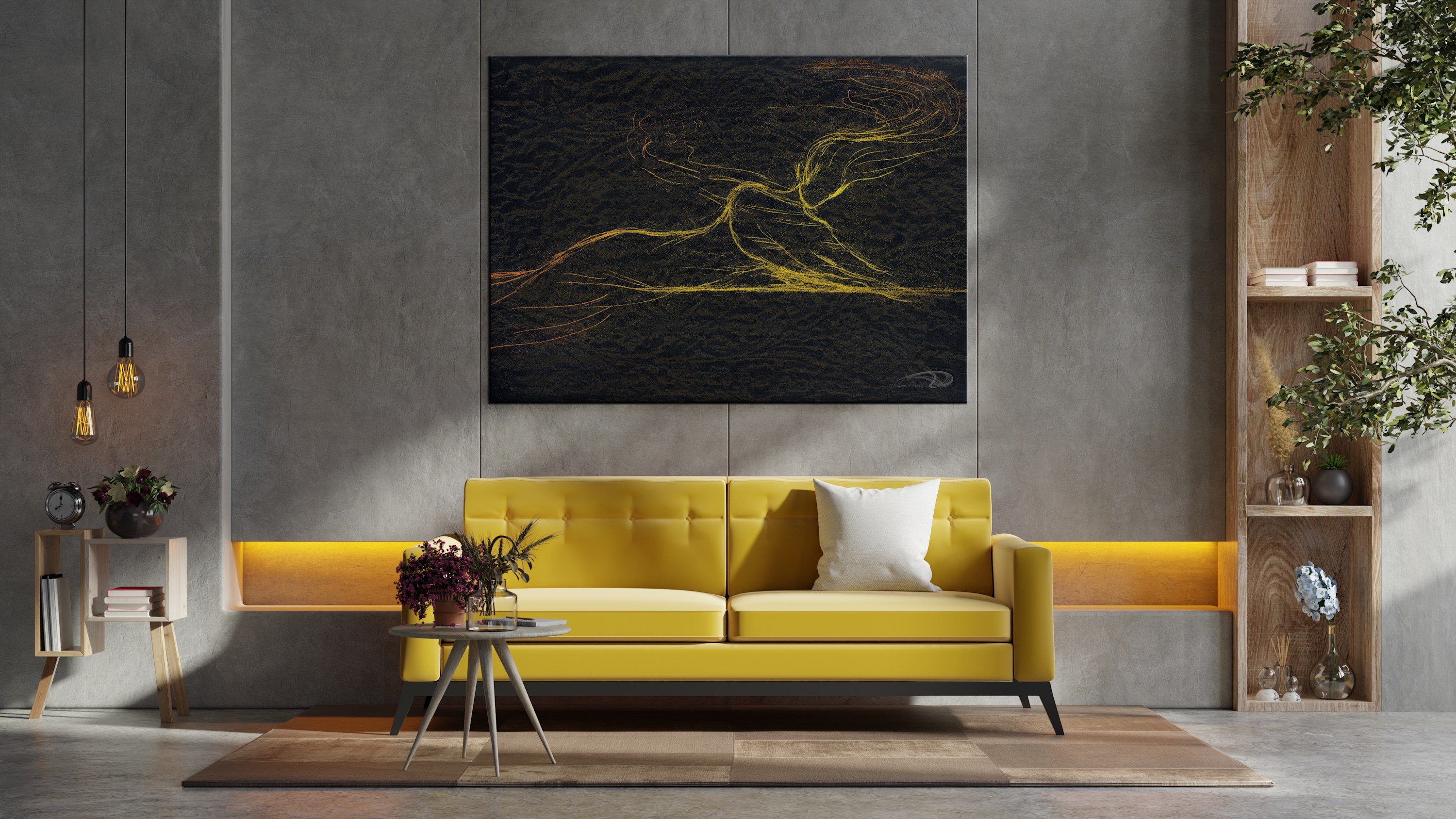 <div class='title'>           CFSomewhereElse Cropped yellow sofa wooden table living room interior with plant         </div>