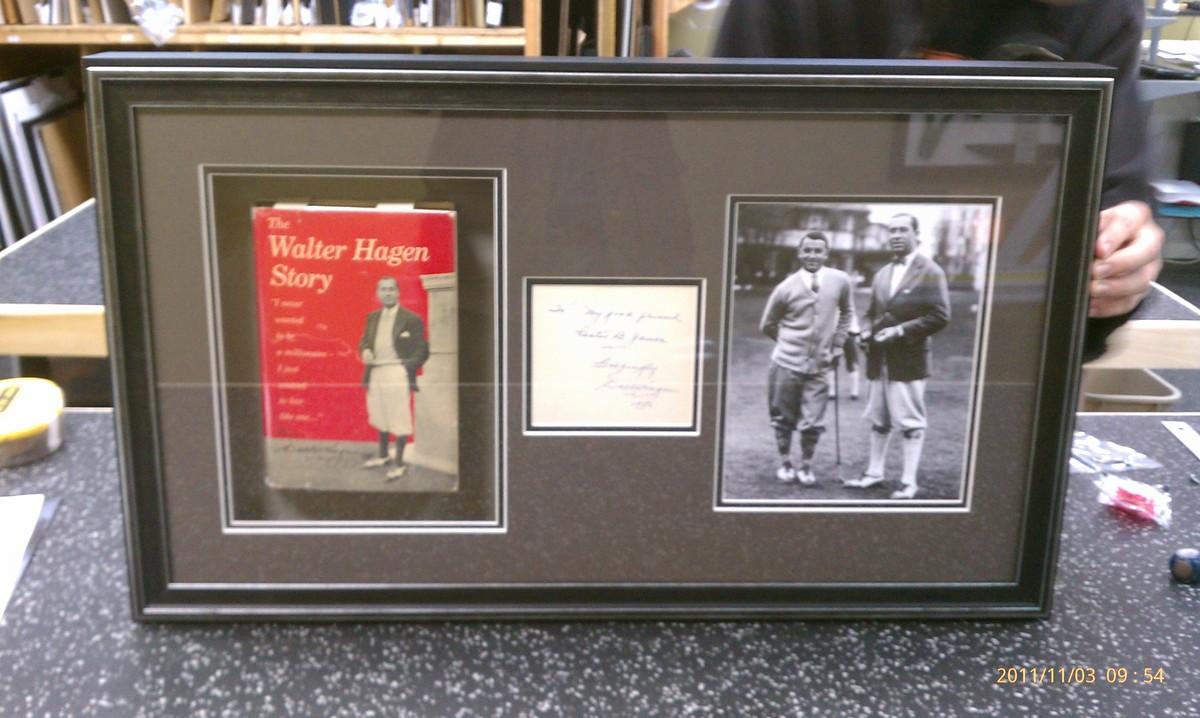 Archival_framing_of_walter_hagen_book_and_signature_msslno