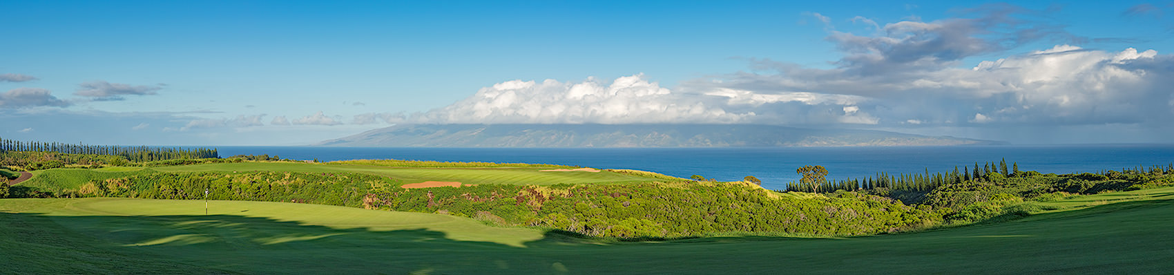 <div class='title'>           5TH HOLE, BAY COURSE AT KAPALUA         </div>                 <div class='description'>           Kapalua's Plantation Course, the view across the 5th greet to Molokai         </div>