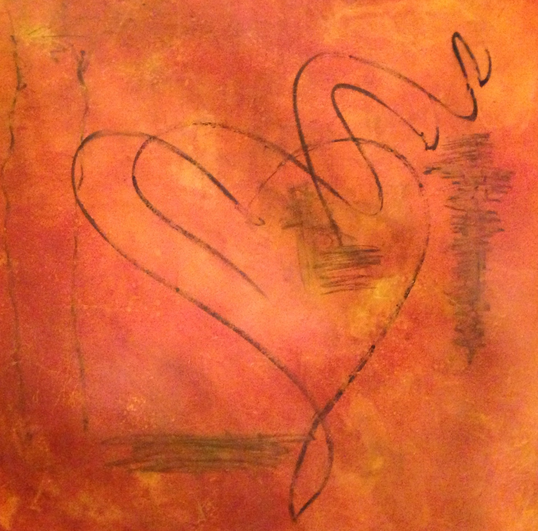 <div class='title'>           Hearts-Intertwined         </div>                 <div class='description'>           Romantic oil and cold wax painting on cradled wood panel; Sold and privately owned         </div>