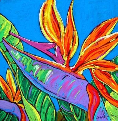 A bird of paradise dances in blue1 up2vhp
