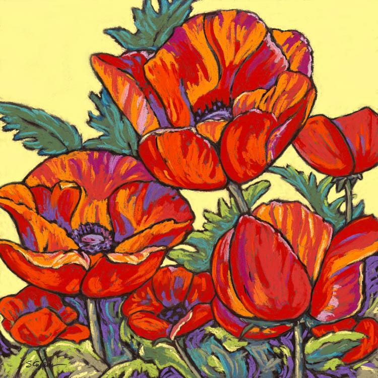 Poppies dance in yellow buljzt