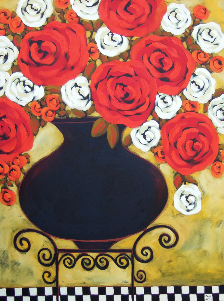 Rieger red white roses with checked floor 40x30 c9q9ay