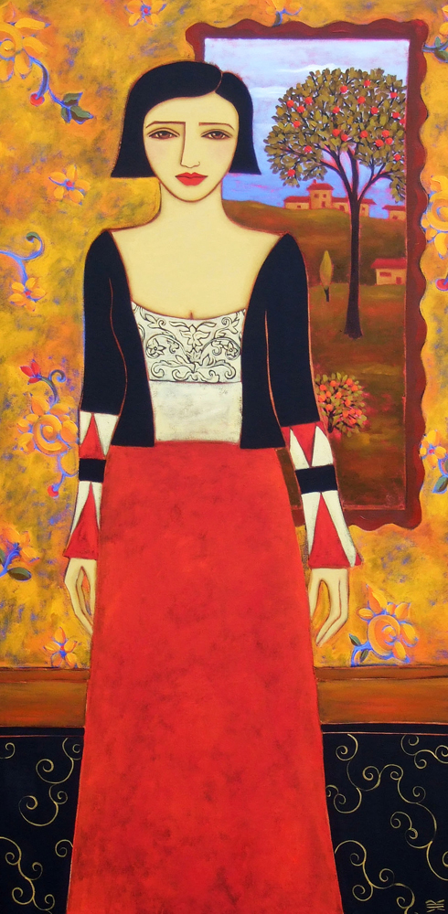 Rieger woman with evening landscape 48x24 r4kncr