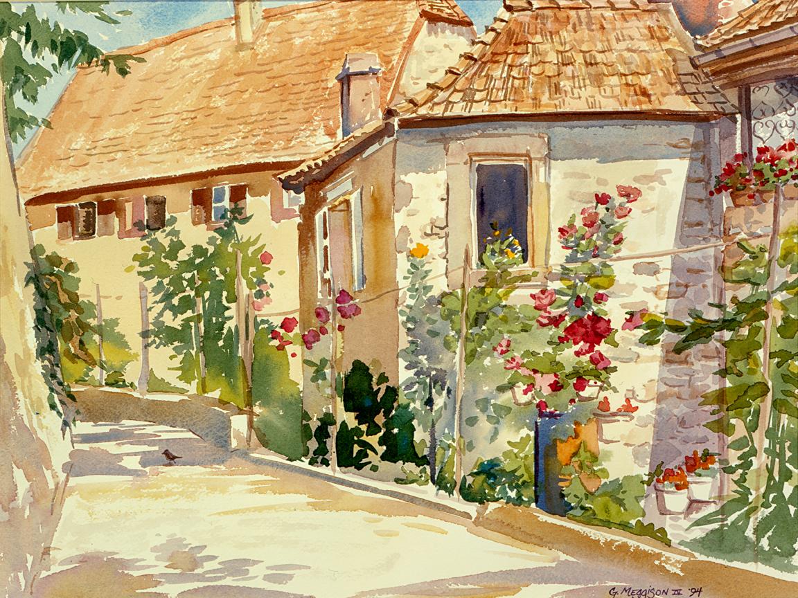 Secret garden 1 12 x16 watercolor orig u28tvr