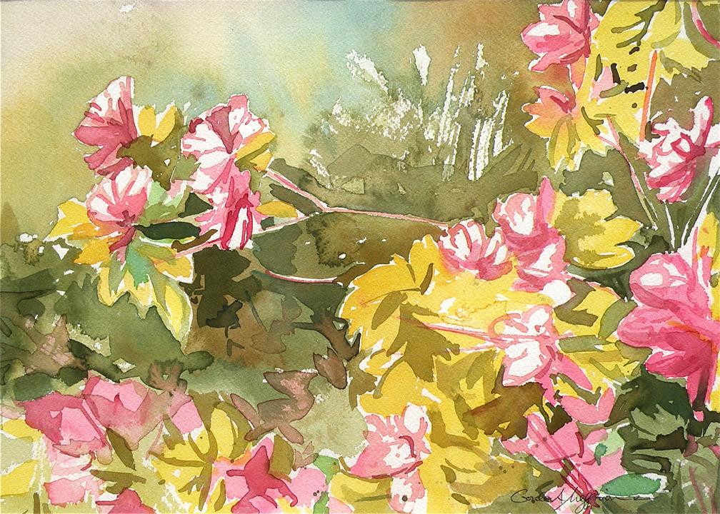 Azaleas in spring 1 12 x14 watercolor orig raa5sm