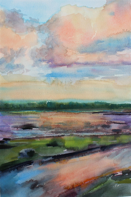 Marsh landing 12 x18 watercolor orig ybudr8