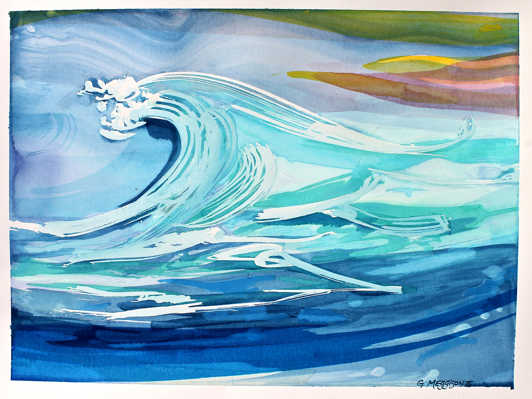 Blue wave 18 x24 watercolor orig ubqqgm