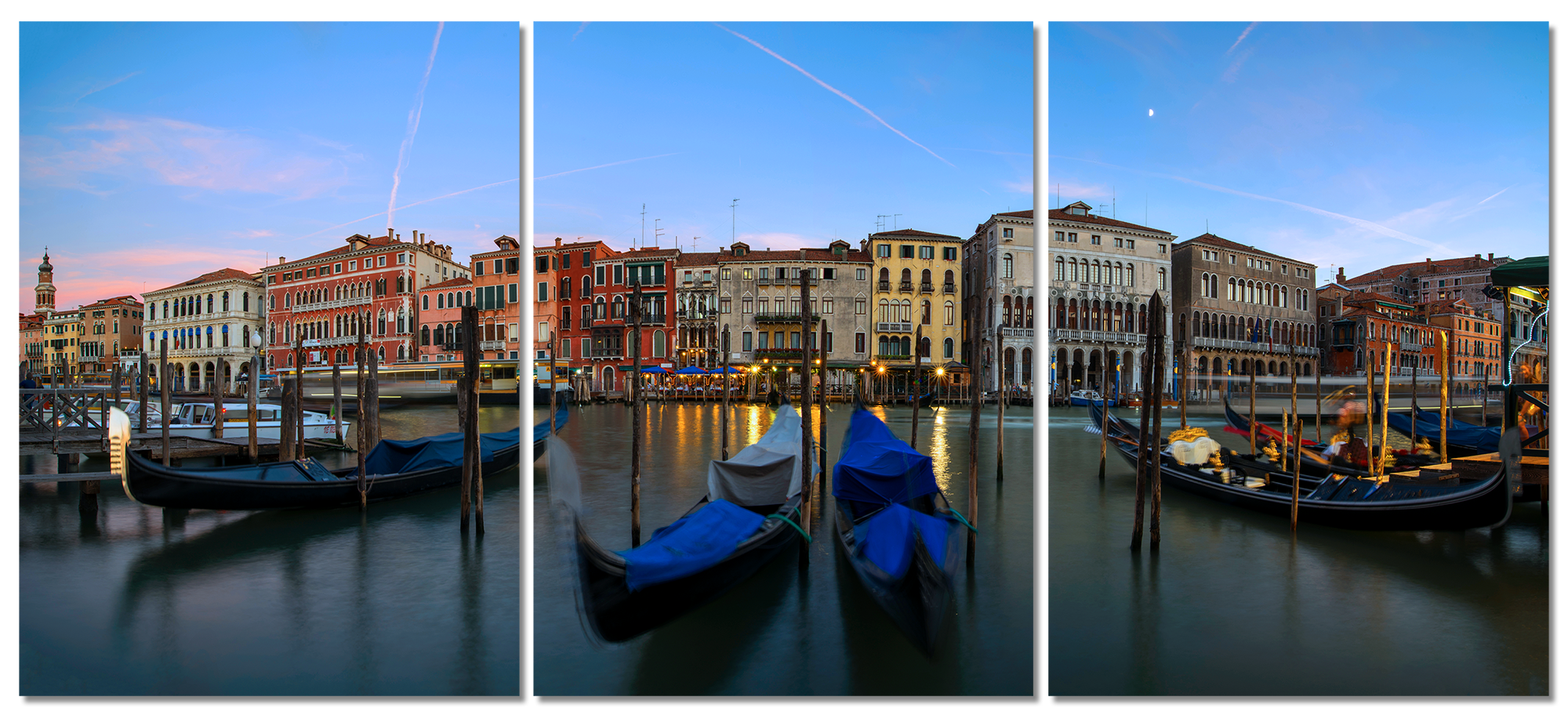 The grand canal venice italy 3 piece canvas wall art 20x27 overall 60x27 cmstq1