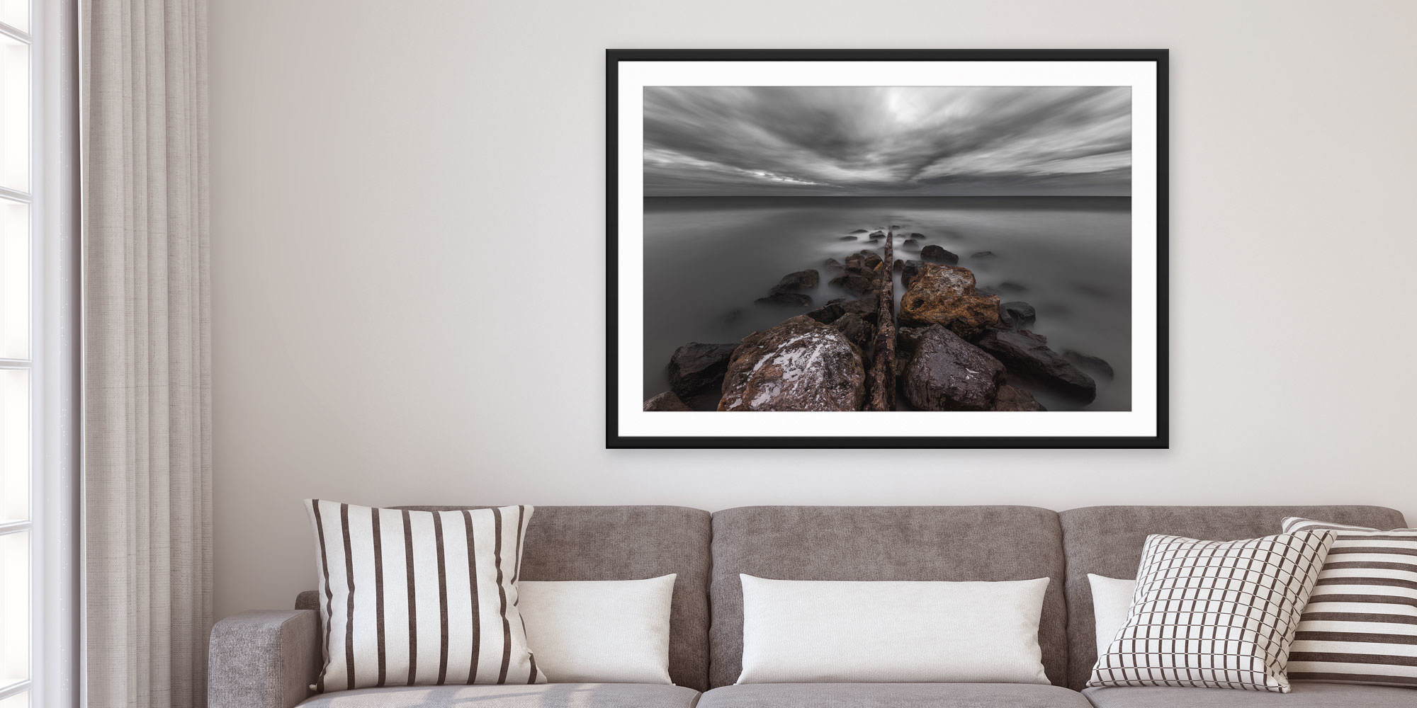 <div class='title'>           Breakdown - Treasure Island, Florida by Andrew Vernon         </div>                 <div class='description'>           A framed and matted print of Breakdown by Andrew Vernon hangs in a modern living room         </div>