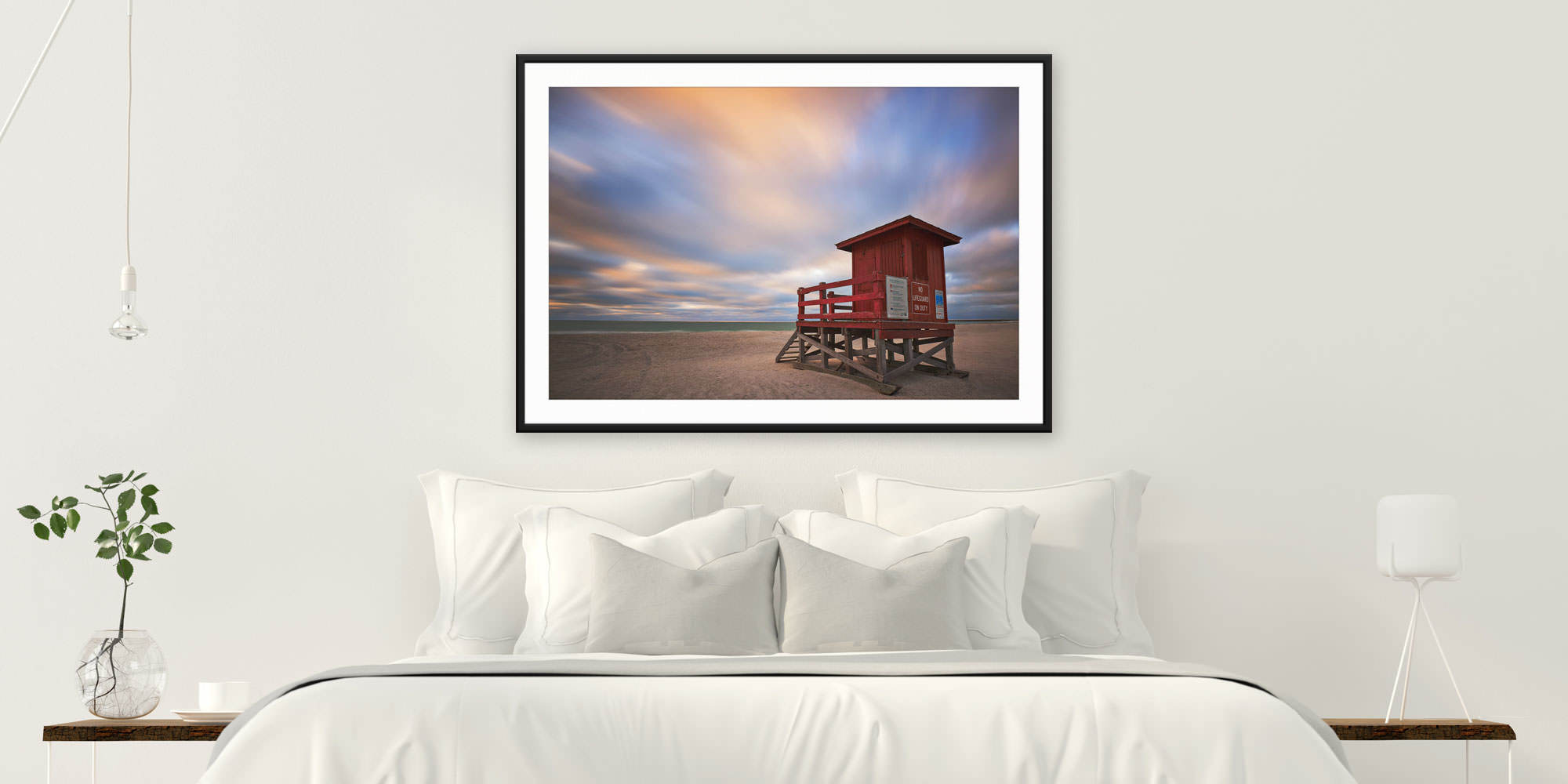 <div class='title'>           Guardian - Clearwater Beach, Florida by Andrew Vernon         </div>                 <div class='description'>           A framed and matted print of Guardian by Andrew Vernon hangs in a modern bedroom         </div>