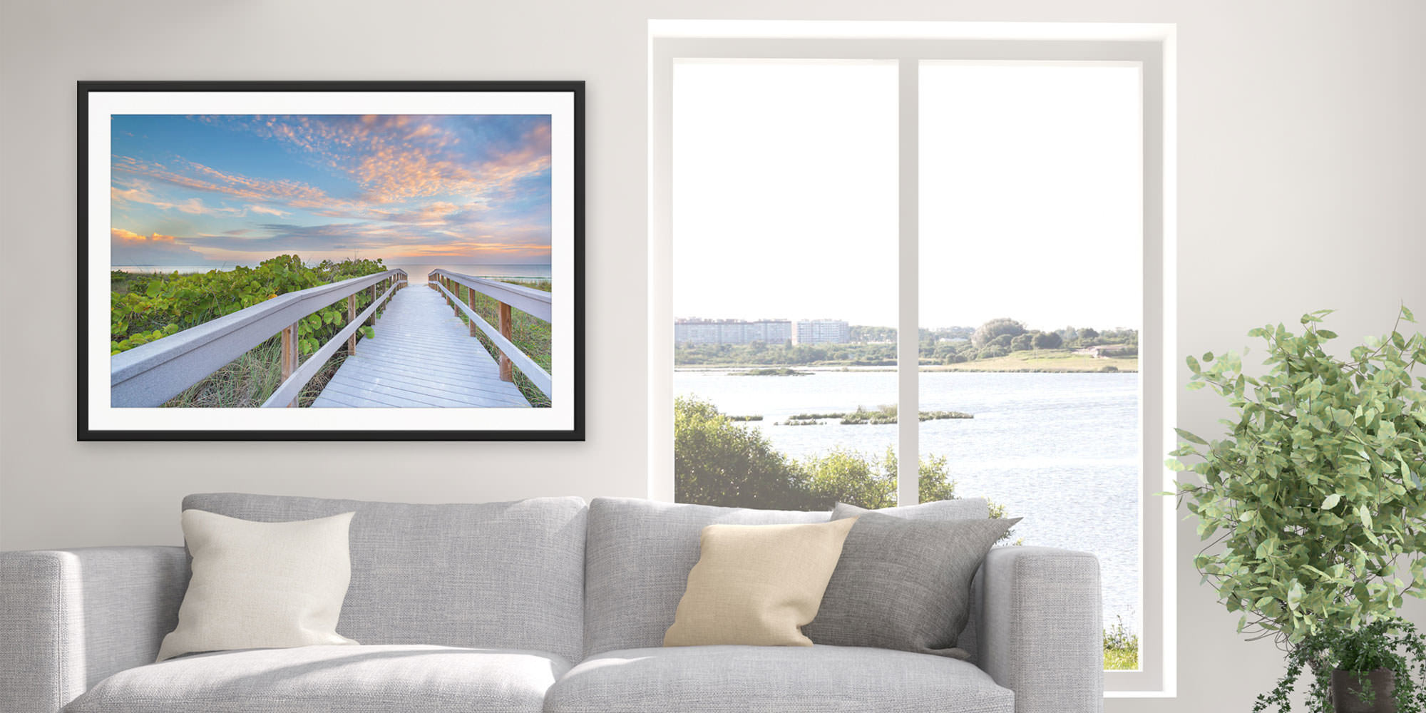 <div class='title'>           The Walk to Sunset Beach - Treasure Island, Florida by Andrew Vernon         </div>                 <div class='description'>           A framed and matted print of The Walk to Sunset Beach by Andrew Vernon hangs in a modern living room         </div>