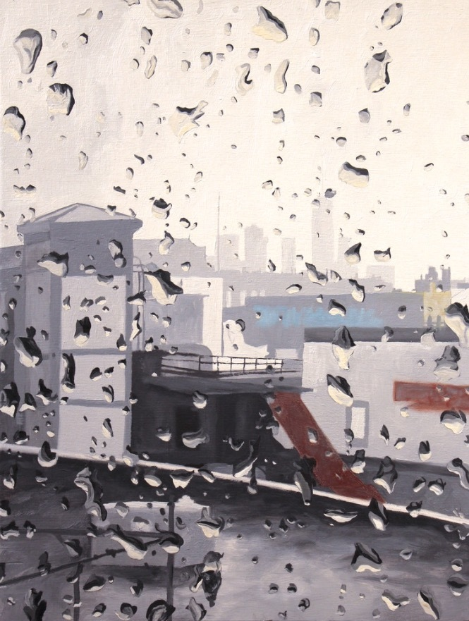 Rainy day new york original oil painting for sale michael serafino wet paint nyc fflzyg