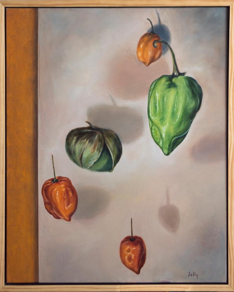 Peppers on orange.frame btmrsn