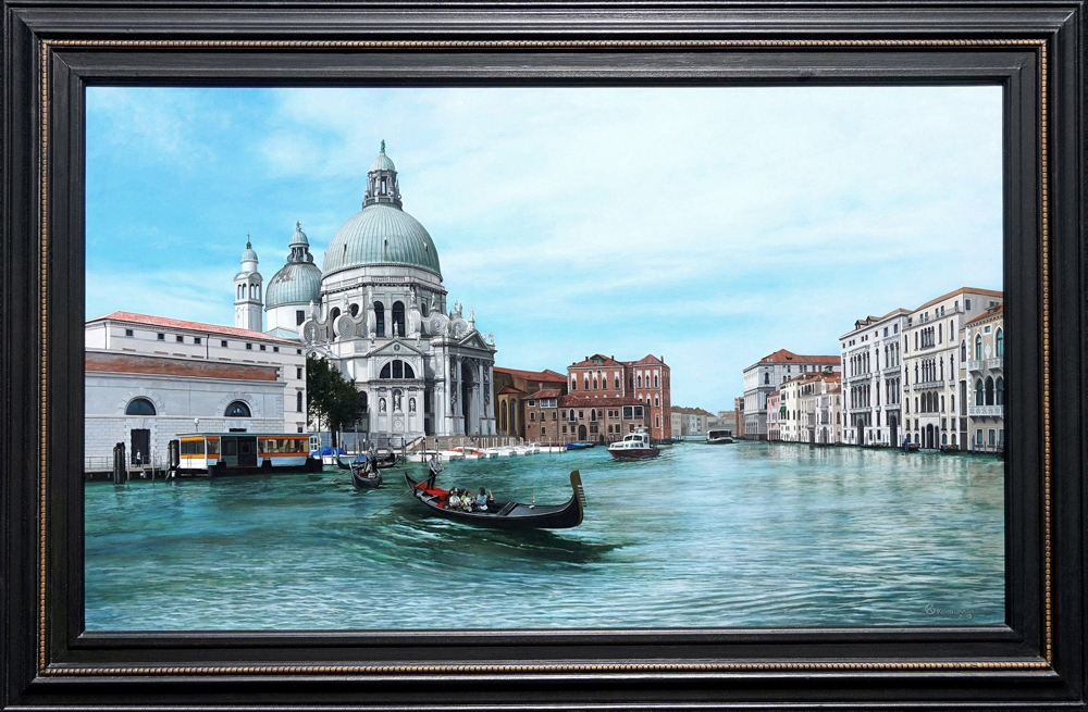 Kevin grass venice framed acrylic on panel painting qtol92
