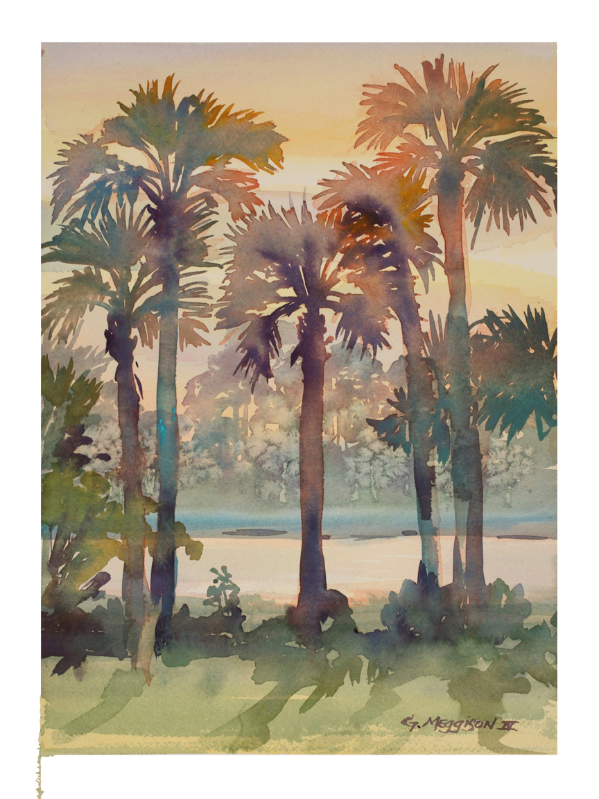 Intracoastal palms 3 12 22 x 16 22 watercolor landscapes original zar6js