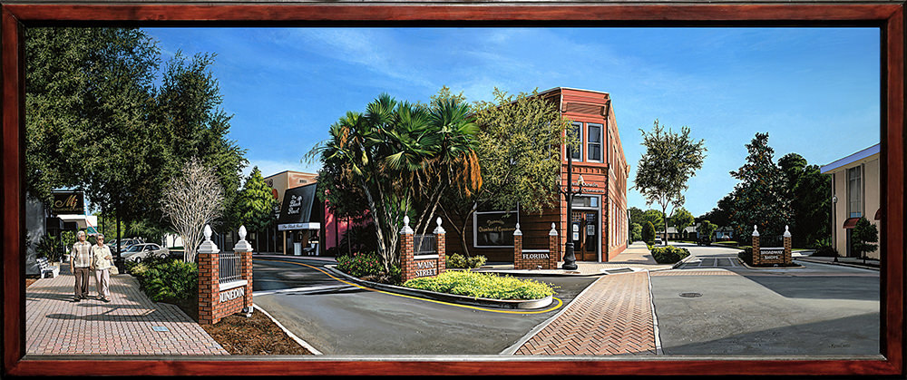 Kevin grass downtown dunedin framed acrylic on panel painting ndmmo8