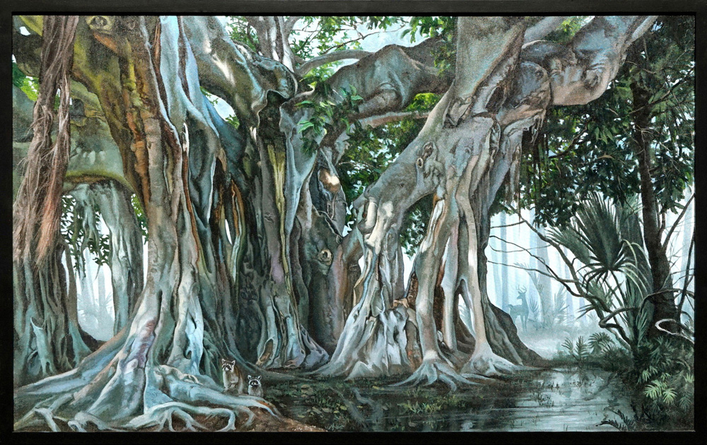 Kevin grass banyan tree framed acrylic on canvas painting wzaihr