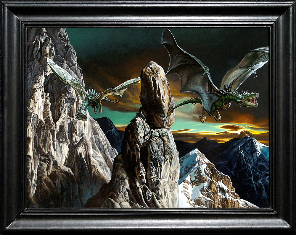 Kevin grass dragons in flight framed acrylic on panel painting ob99zv